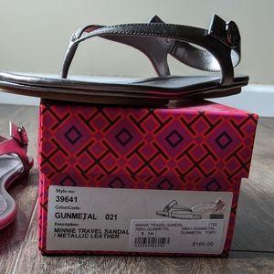 EUC Tory Burch Gunmetal Minnie Travel Sandal